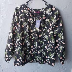 NWT liberty X J.crew black floral blouse small